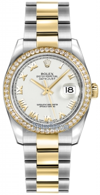 Rolex Datejust 36mm Stainless Steel and Yellow Gold 116243 White Roman Oyster