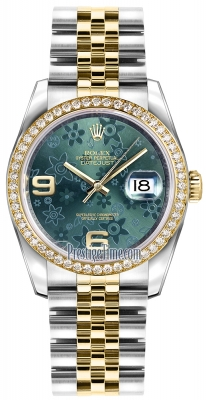 Rolex Datejust 36mm Stainless Steel and Yellow Gold 116243 Green Floral Jubilee