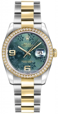 Rolex Datejust 36mm Stainless Steel and Yellow Gold 116243 Green Floral Oyster