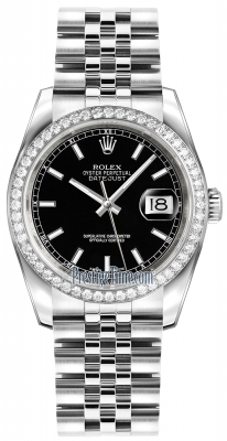 Rolex Datejust 36mm Stainless Steel 116244 Black Index Jubilee