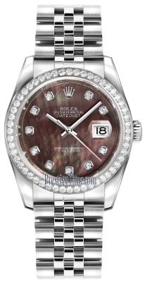 Rolex Datejust 36mm Stainless Steel 116244 Black MOP Diamond Jubilee