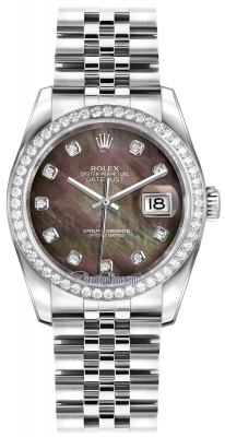 Rolex Datejust 36mm Stainless Steel 116244 Black MOP Diamond Jubilee