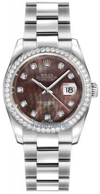 Rolex Datejust 36mm Stainless Steel 116244 Black MOP Diamond Oyster