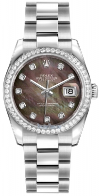 Rolex Datejust 36mm Stainless Steel 116244 Black MOP Diamond Oyster