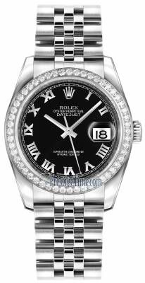 Rolex Datejust 36mm Stainless Steel 116244 Black Roman Jubilee