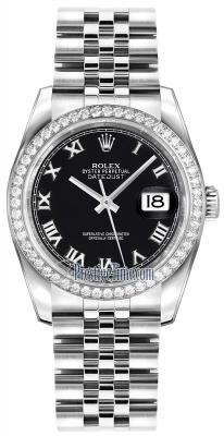 Rolex Datejust 36mm Stainless Steel 116244 Black Roman Jubilee