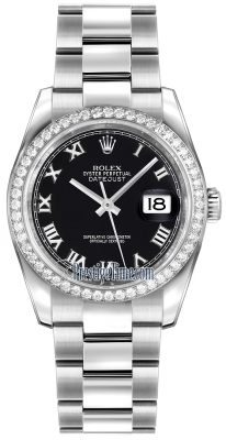 Rolex Datejust 36mm Stainless Steel 116244 Black Roman Oyster