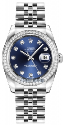 Rolex Datejust 36mm Stainless Steel 116244 Blue Diamond Jubilee