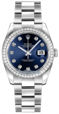 Rolex Datejust 36mm Stainless Steel 116244 Blue Diamond Oyster
