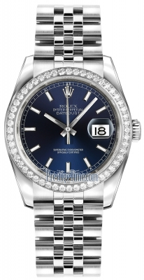 Rolex Datejust 36mm Stainless Steel 116244 Blue Index Jubilee