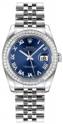 Rolex Datejust 36mm Stainless Steel 116244 Blue Roman Jubilee