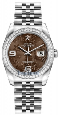 Rolex Datejust 36mm Stainless Steel 116244 Bronze Floral Jubilee