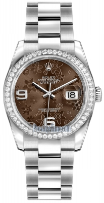 Rolex Datejust 36mm Stainless Steel 116244 Bronze Floral Oyster