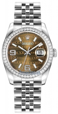 Rolex Datejust 36mm Stainless Steel 116244 Bronze Wave Jubilee