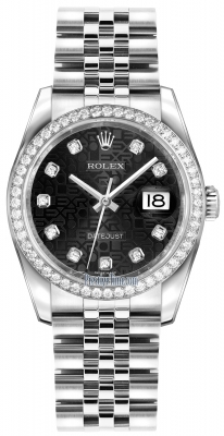 Rolex Datejust 36mm Stainless Steel 116244 Jubilee Black Diamond Jubilee