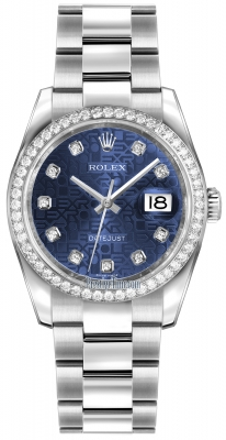 Rolex Datejust 36mm Stainless Steel 116244 Jubilee Blue Diamond Oyster