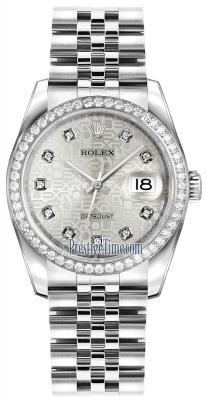 Rolex Datejust 36mm Stainless Steel 116244 Jubilee Silver Diamond Jubilee