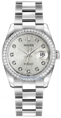 Rolex Datejust 36mm Stainless Steel 116244 Jubilee Silver Diamond Oyster