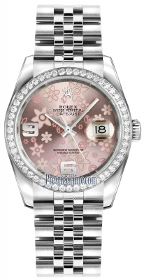 Rolex Datejust 36mm Stainless Steel 116244 Pink Floral Jubilee