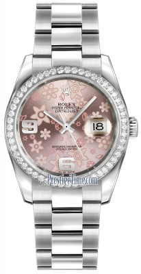 Rolex Datejust 36mm Stainless Steel 116244 Pink Floral Oyster