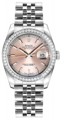 Rolex Datejust 36mm Stainless Steel 116244 Pink Index Jubilee