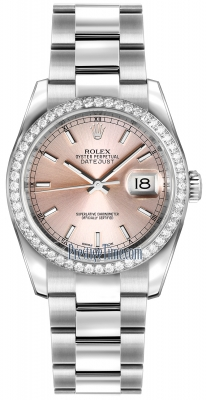 Rolex Datejust 36mm Stainless Steel 116244 Pink Index Oyster