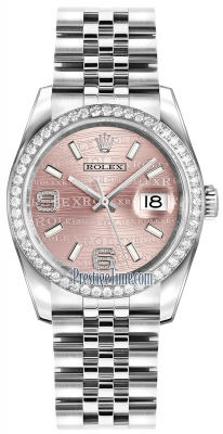 Rolex Datejust 36mm Stainless Steel 116244 Pink Wave Jubilee