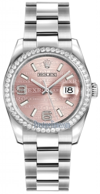 Rolex Datejust 36mm Stainless Steel 116244 Pink Wave Oyster