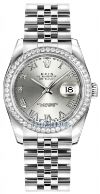 Rolex Datejust 36mm Stainless Steel 116244 Rhodium Roman Jubilee