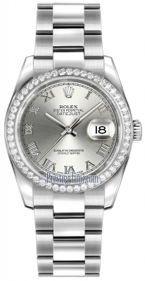 Rolex Datejust 36mm Stainless Steel 116244 Rhodium Roman Oyster