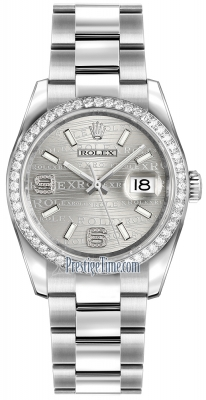 Rolex Datejust 36mm Stainless Steel 116244 Rhodium Wave Oyster