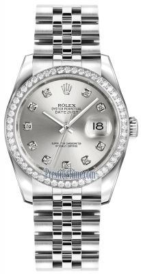 Rolex Datejust 36mm Stainless Steel 116244 Silver Diamond Jubilee