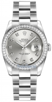 Rolex Datejust 36mm Stainless Steel 116244 Silver Diamond Oyster