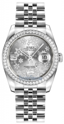Rolex Datejust 36mm Stainless Steel 116244 Silver Floral Jubilee
