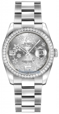 Rolex Datejust 36mm Stainless Steel 116244 Silver Floral Oyster
