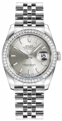 Rolex Datejust 36mm Stainless Steel 116244 Silver Index Jubilee