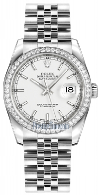 Rolex Datejust 36mm Stainless Steel 116244 White Index Jubilee