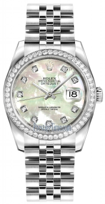 Rolex Datejust 36mm Stainless Steel 116244 White MOP Diamond Jubilee