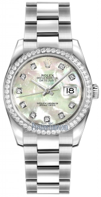 Rolex Datejust 36mm Stainless Steel 116244 White MOP Diamond Oyster