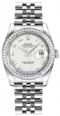 Rolex Datejust 36mm Stainless Steel 116244 White Roman Jubilee