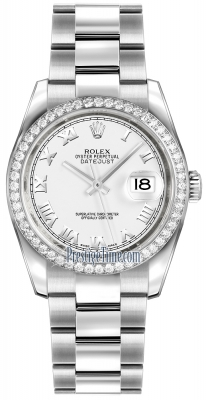 Rolex Datejust 36mm Stainless Steel 116244 White Roman Oyster