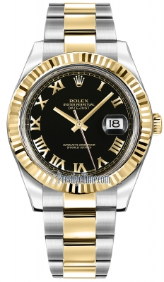 Rolex Oyster Perpetual Datejust II 116333 Black Solid Roman