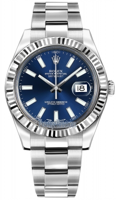 Rolex Oyster Perpetual Datejust II 116334 Blue Index