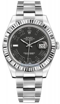 Rolex Oyster Perpetual Datejust II 116334 Black Roman