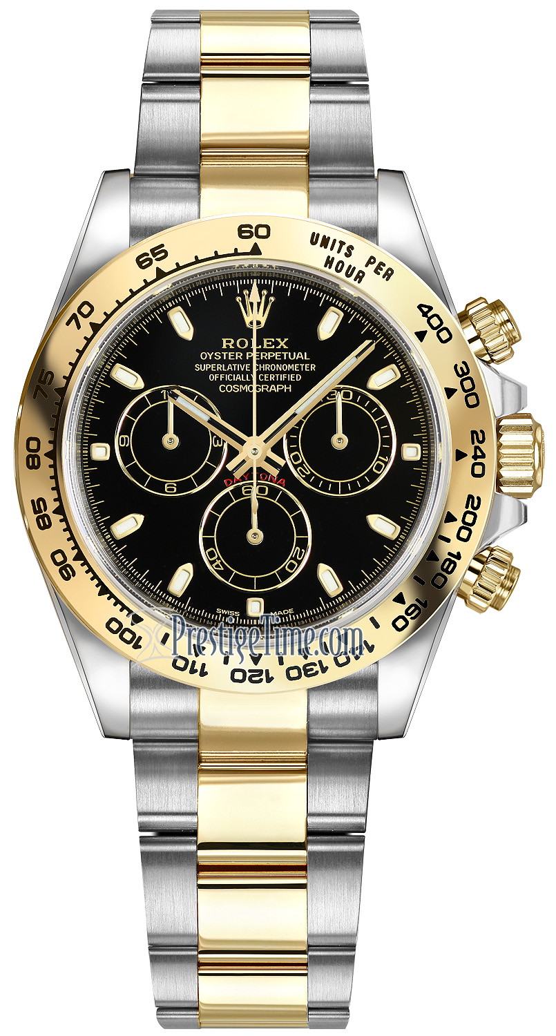 e07407df15e 116503 Black Index Oyster Rolex Cosmograph Daytona Steel and Gold ...