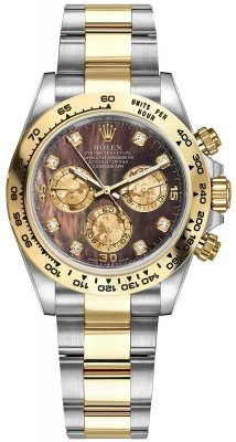 Rolex Cosmograph Daytona Steel and Gold 116503 Black MOP Gold Crystals Diamond Oyster