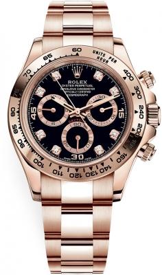 Rolex Cosmograph Daytona Everose Gold 116505 Black Diamond