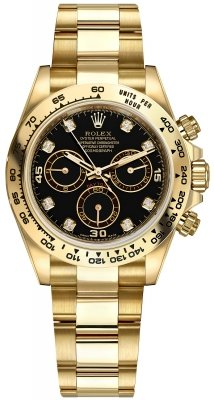 Rolex Cosmograph Daytona Yellow Gold 116508 Black Diamond Oyster