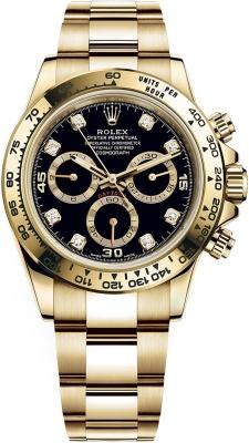 Rolex Cosmograph Daytona Yellow Gold 116508 Black Diamond