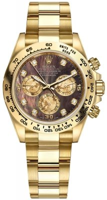 Rolex Cosmograph Daytona Yellow Gold 116508 Black MOP Gold Crystals Diamond Oyster